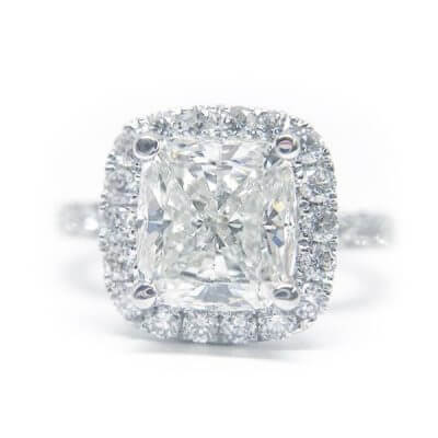 Cushion Cut Halo Style Diamond Engagement Ring