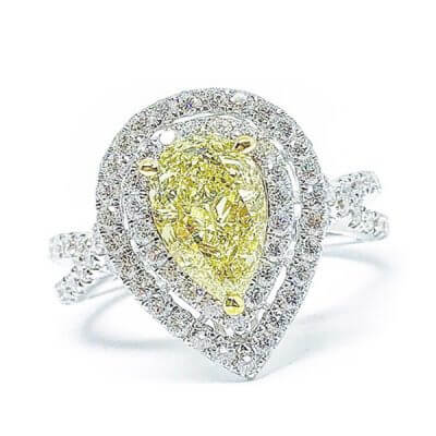 Yellow Pear Shaped Center Diamond Engagement Ring