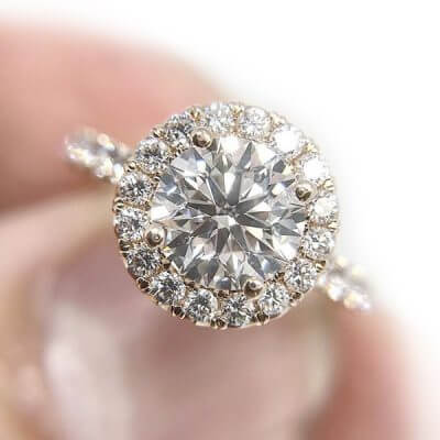 Round Brilliant Cut Halo Style Diamond Engagement