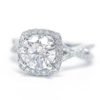 Round Brilliant Cut Halo Style Diamond Engagement Ring