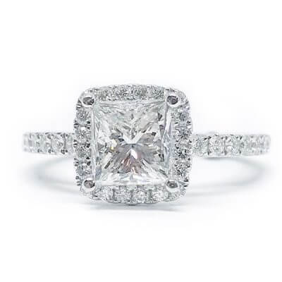 Princess Cut Halo Style Diamond Engagement Ring