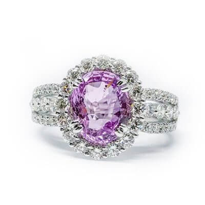 Purplish Pink Ceylon Sapphire And Diamond Ring