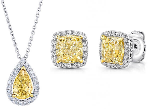 Yellow coloured diamond jewellery set.
